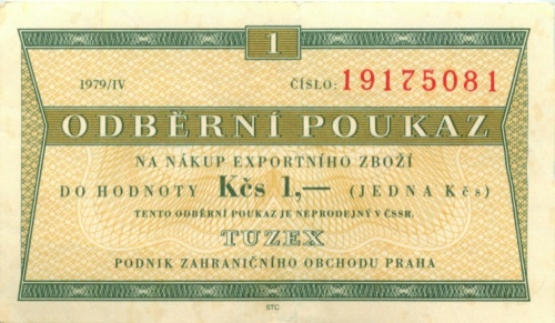 1 крона (валютный сертификат) 1979 года (Чехословакия)
