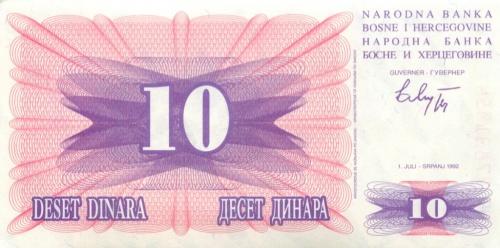 10 динаров 1992 года (Босния и Герцеговина)
