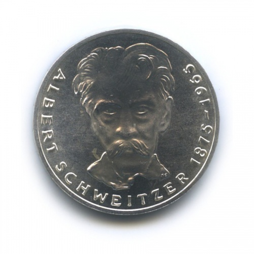 5 марок — 100 лет содня рождения Альберта Швейцера 1975 года (Германия)