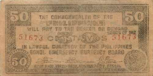 50 сентаво (о-в Бохоль) 1942 года (Филиппины)
