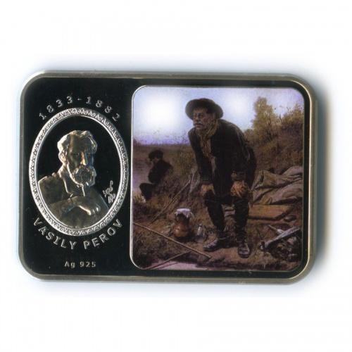 1 доллар - Картины художника Василия Григорьевича Перова, о. Ниуэ (цветная эмаль) 2011 года