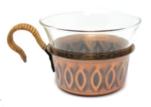 Подстаканник соригинальным стаканом (Европа, медь, 3,5 см, 5,8 см)