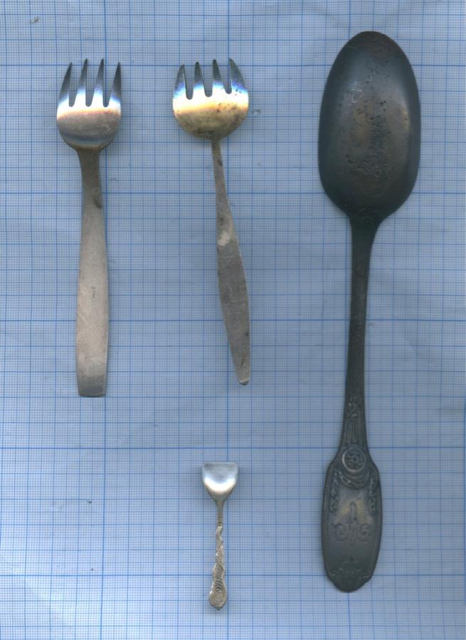 Набор столовых приборов: ложка «Astoria - St. Peterburg», вилки (мельхиор, золочение), совочек (серебрение)
