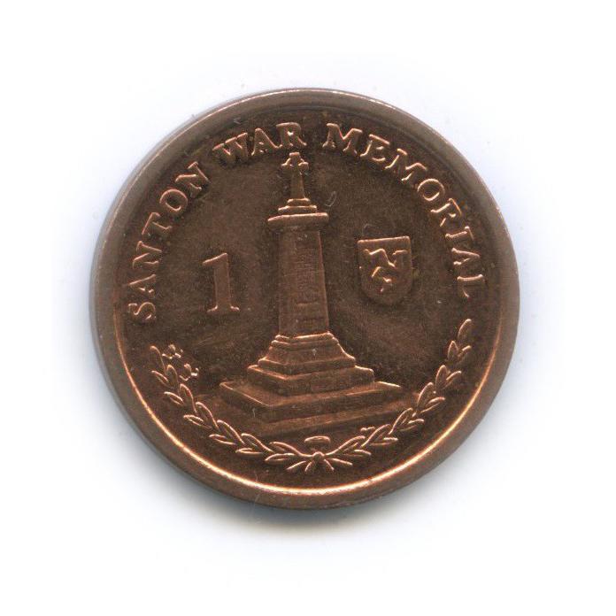 1 пенни - Военный мемориал вСантоне, Остров Мэн 2009 года