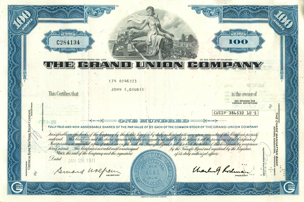 100 акций «The Grand Union Company» 1971 года (США)