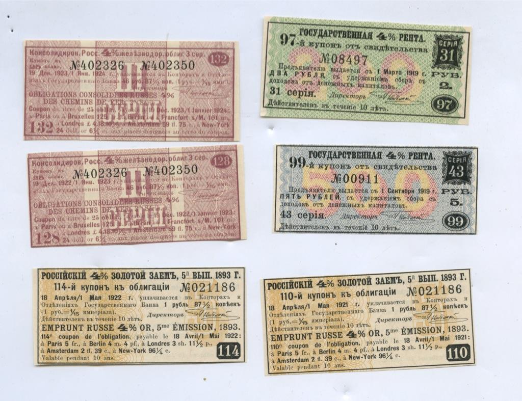 Набор купонов на облигации (Российская Империя)
