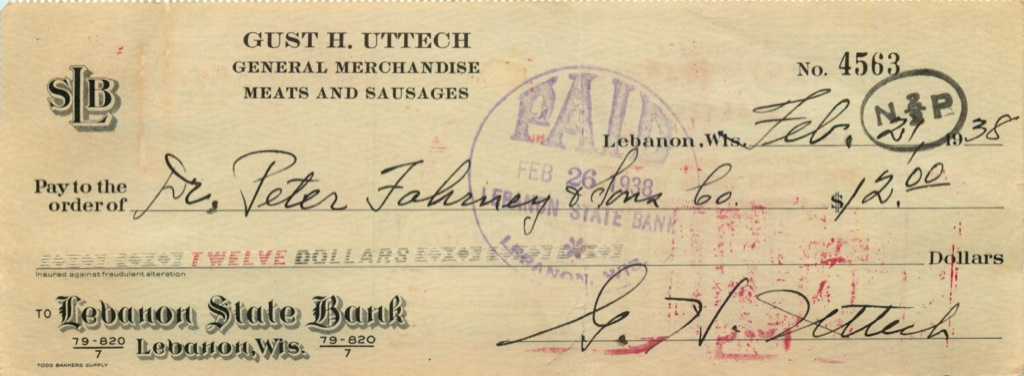 Чек банковский 1938 года (Ливан)