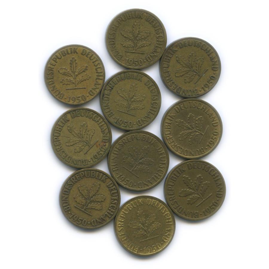 Набор монет 5 пфеннигов 1950 года (Германия)