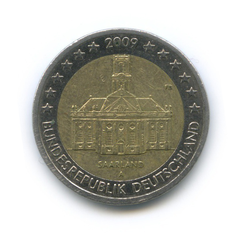 2 евро — Федеральные земли Германии - Церковь Людвига вСаарбрюккен, Саар 2009 года A (Германия)