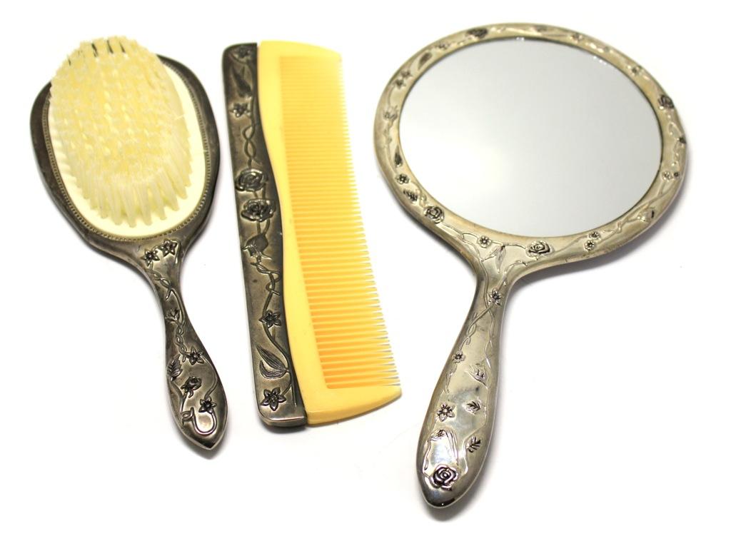 Щетка, расческа, зеркало (серебрение, 20 см, 18 см, 23,5 см) (Великобритания)