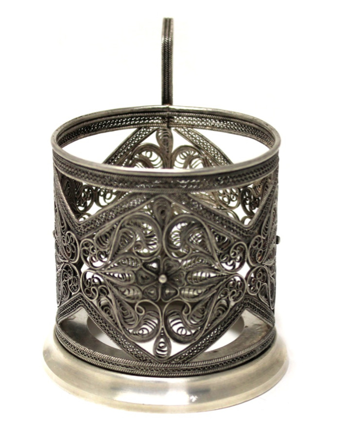 Подстаканник (клейма, серебрение, скань) (СССР)
