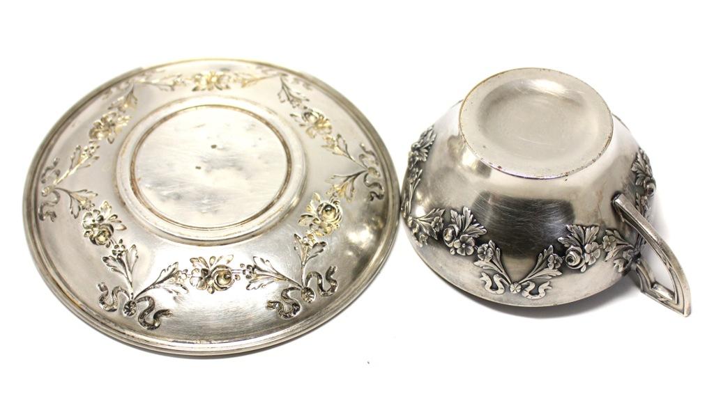 Чайная пара (Европа, до1917 года, глубокое серебрение), 13,5 см, 4,5 см