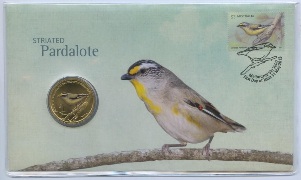 1 доллар - Птицы - Радужные птицы, Тувалу (цветная эмаль, вконверте спочтовой маркой) 2013 года
