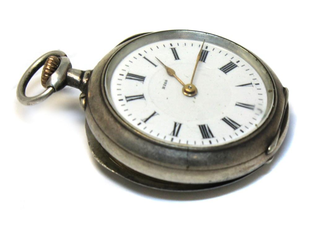 Часы карманные «RISS» (серебро 800 пробы, 3,2 см) см) (Швейцария)