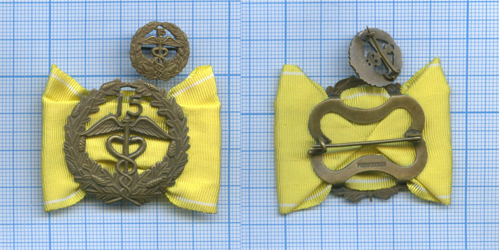 Медаль «За15 лет выслуги» сфрачником (вфутляре) (Финляндия)