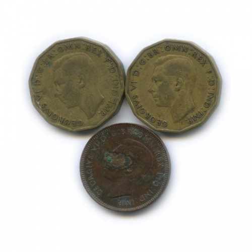 Набор монет 3 пенса, 1 фартинг (Великобритания)