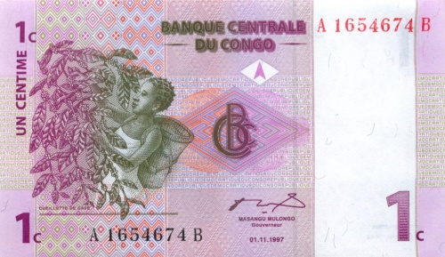 1 сантим (Конго) 1997 года