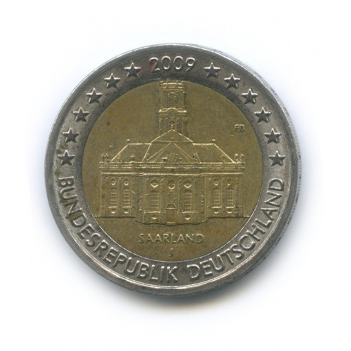 2 евро — Федеральные земли Германии - Церковь Людвига вСаарбрюккен, Саар 2009 года J (Германия)