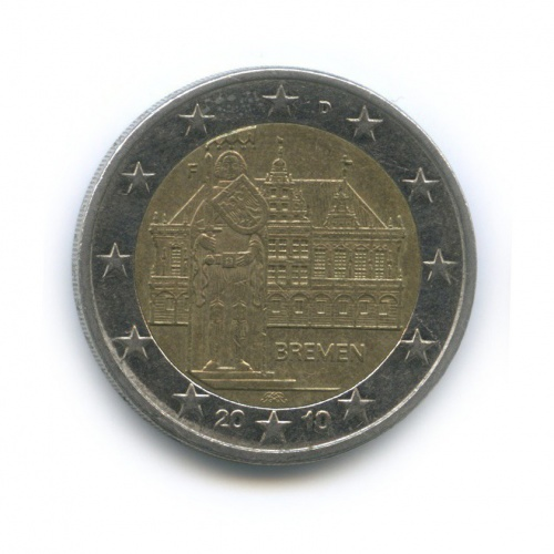 2 евро — Федеральные земли Германии - Городская ратуша иРоланд, Бремен 2010 года F (Германия)