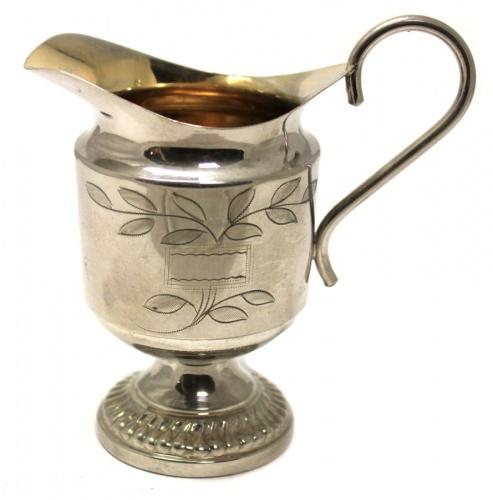 Сливочник (штихельных рисунок, 10 см, серебрение, XIX век) (Великобритания)