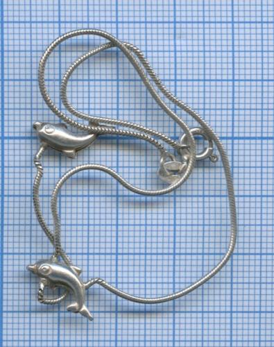 Браслет наногу «Дельфины», серебро 925 пробы, 3,09 гр