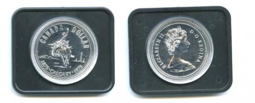 1 доллар — 100 лет городу Калгари (вфулляре) 1975 года (Канада)