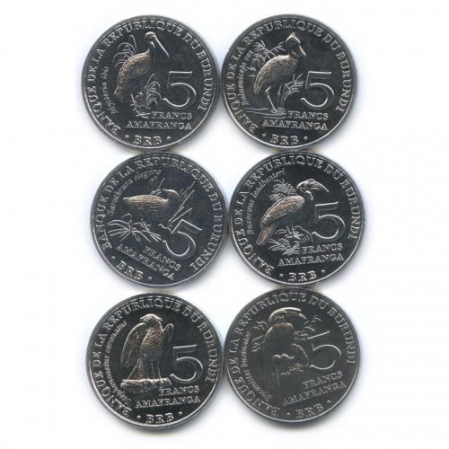 Набор монет 5 франков - Птицы, Республика Бурунди 2014 года