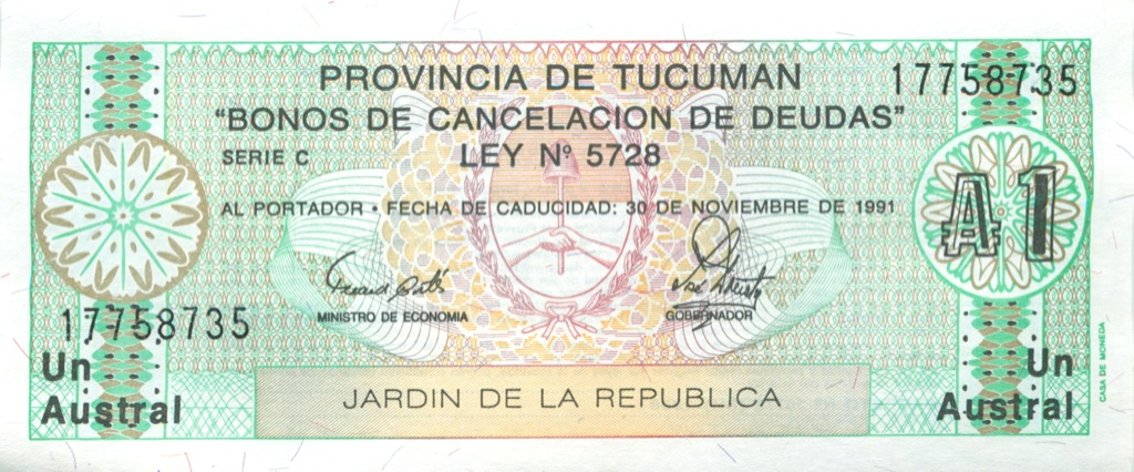 1 аустраль (провинция Тукуман) 1991 года (Аргентина)