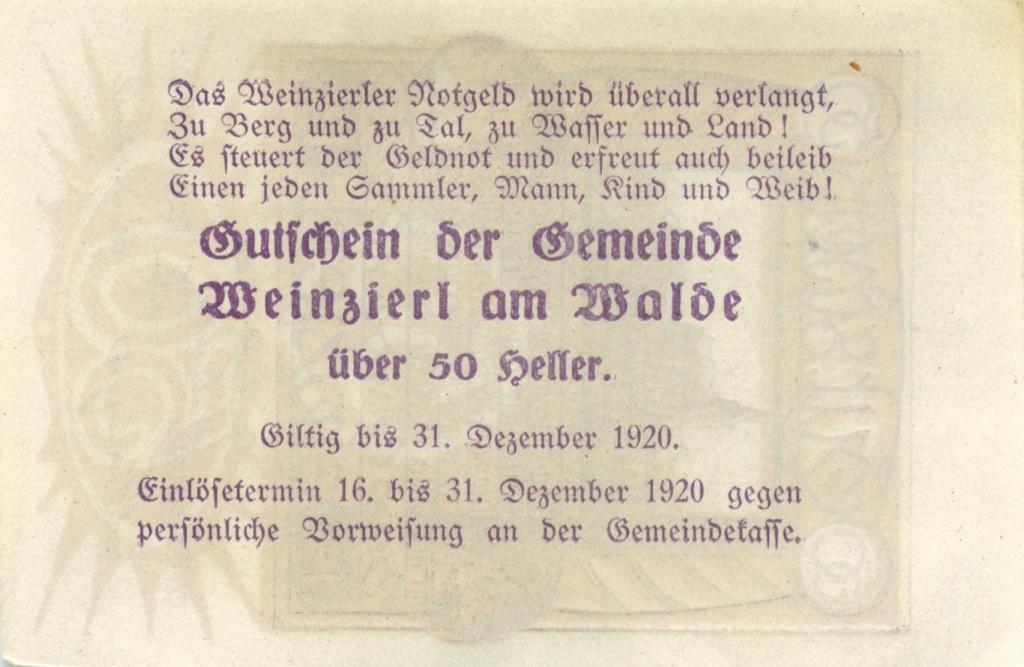 50 геллеров (нотгельд) 1920 года (Австралия)