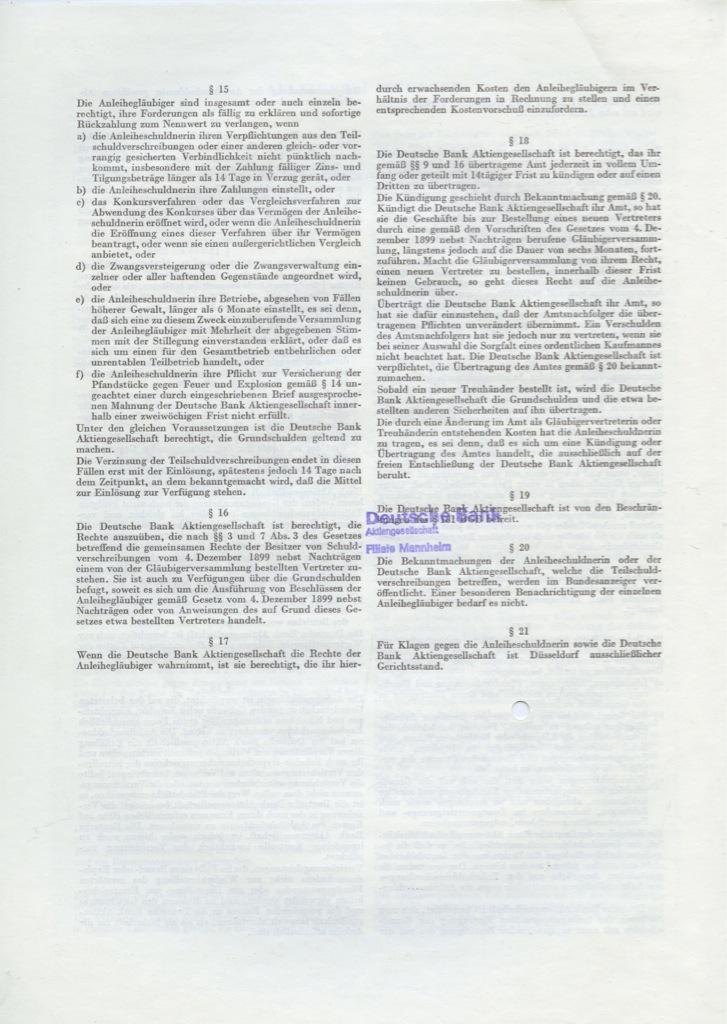 1000 марок (Actien-Gesellschaft der Gerresheimer Glashuttenwerke) 1962 года (Германия)