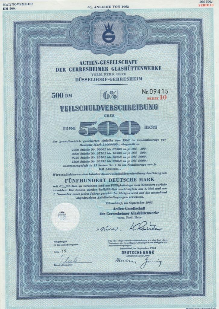 500 марок (Actien-Gesellschaft der Gerresheimer Glashuttenwerke) 1962 года (Германия)