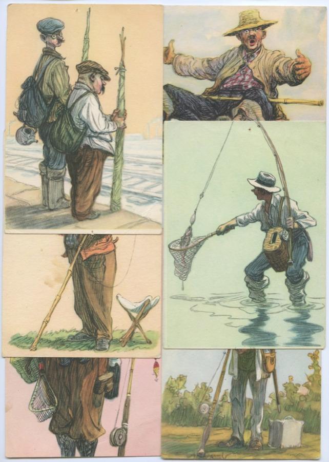 Советские открытки рыбаки