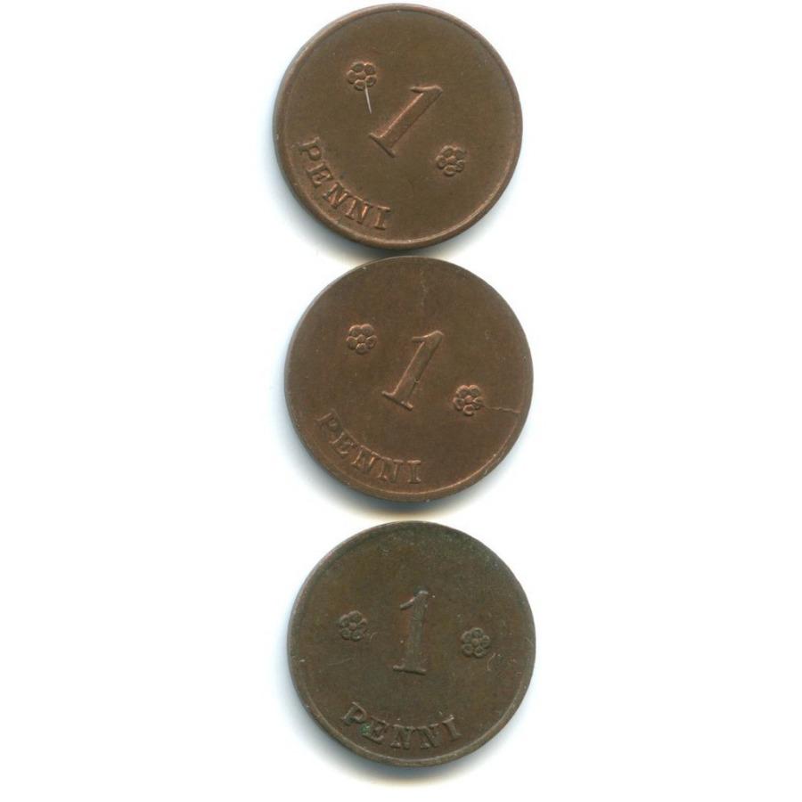 Набор монет 1 пенни 1919-1921 (Финляндия)