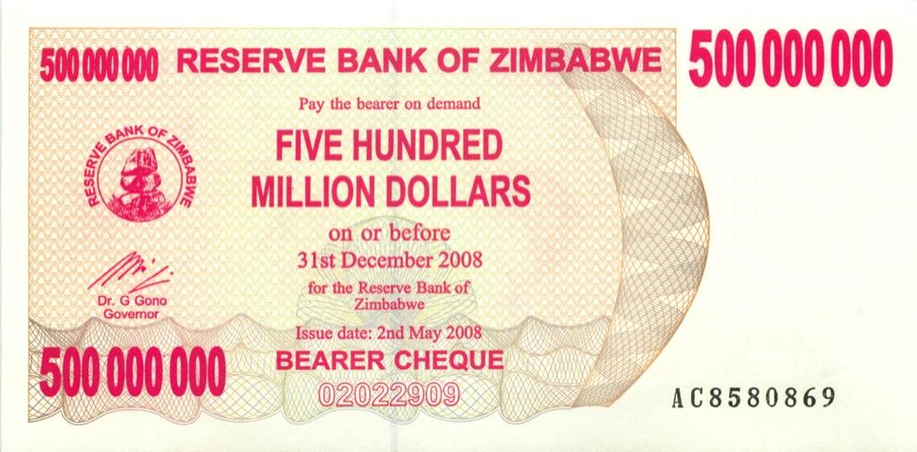 500 миллионов долларов (чек напредъявителя) - Зимбабве 2008 года