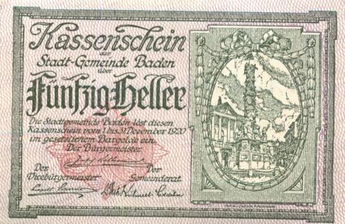50 геллеров (нотгельд) 1920 года (Германия)