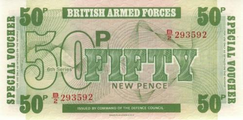50 новых пенсов (ваучер) - Вооруженные силы Великобритании (Великобритания)