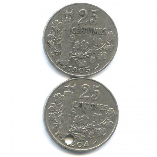 Набор монет 25 сантимов 1904, 1905 (Франция)