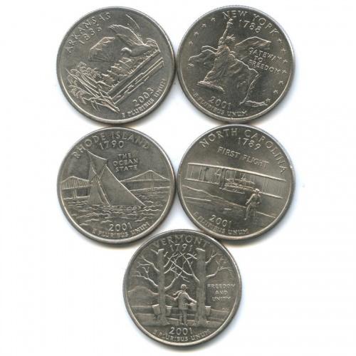 Набор монет 25 центов (квотер) - Штаты итерритории 2001, 2003 Р, D (США)