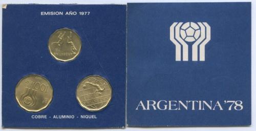 Набор монет - Чемпионат мира пофутболу 1978 года вАргентине 1977 года (Аргентина)