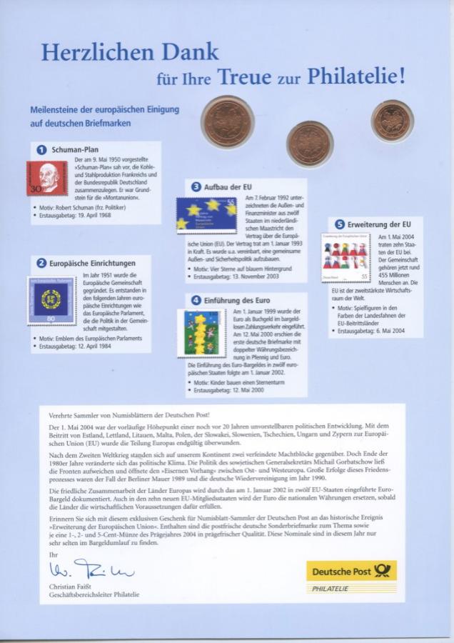 Набор монет (вбуклете, смаркой) 2004 года А (Германия)
