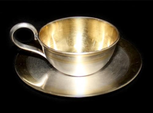Чашка кофейная иблюдце (клеймо, золочение, 3 см, 10,5 см)