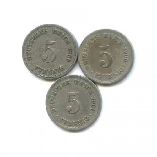 Набор монет 5 пфеннигов 1906 года (Германия)