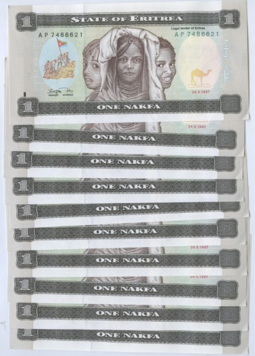 Набор банкнот 1 накфа, Эритрея (номера подряд, 10 шт.) 1997 года
