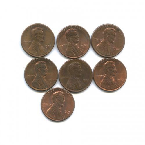 Набор монет 1 цент 1983-1986 (США)