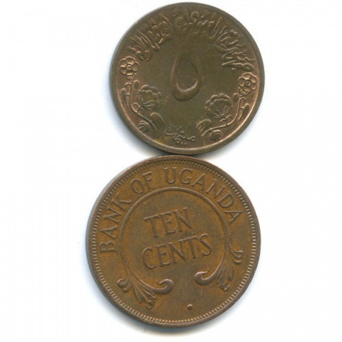 Набор монет (Судан, Уганда) 1972 года