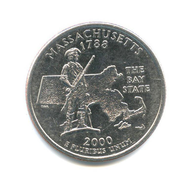 25 центов (квотер) — Квотер штата Массачусетс 2000 года D (США)