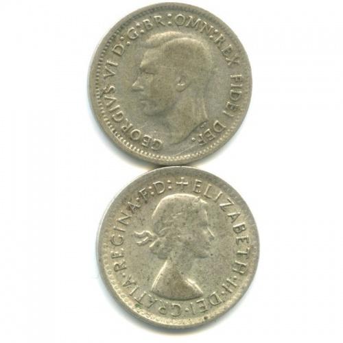 Набор монет 3 пенса 1952, 1961 (Австралия)