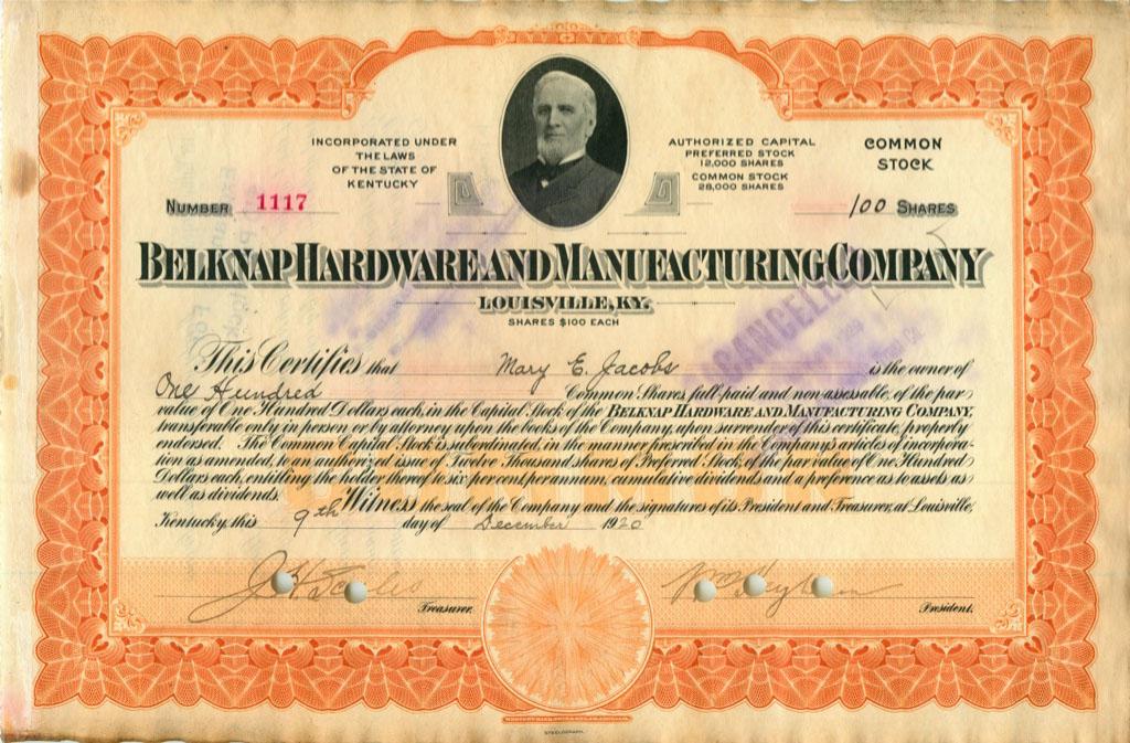 100 акций («Belknap Hardware And Manufacturing Company») 1920 года (США)