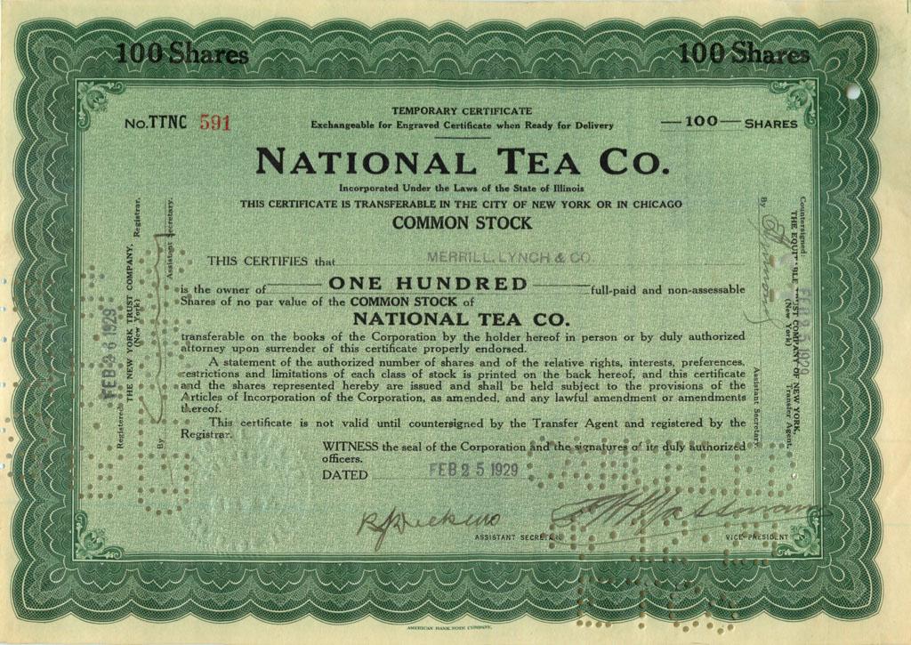 100 акций («National Tea Co.») 1929 года (США)