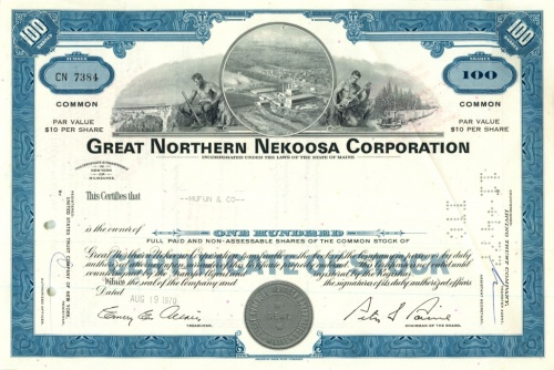 100 акций («Great Northern Nekoosa Corporation») 1970 года (США)